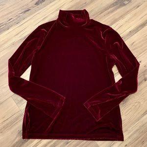 Eddie Bauer dark red velvet feeling long sleeve